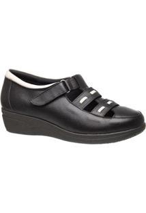 Sapato Conforto Couro Doctor Shoes Feminino - Feminino-Preto