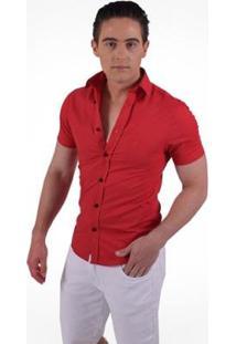Camisa Horus Social Manga Curta Slim - Masculino-Vermelho