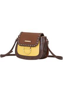 Bolsa Transversal Com Rebites - Marrom Escuro & Amarela