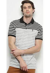 Camisa Polo Aleatory Listrada Masculina - Masculino-Preto+Cinza