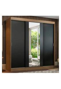 Guarda-Roupa Casal Madesa Reno 3 Portas De Correr Com Espelho Rustic