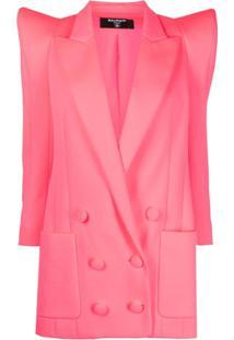 Balmain Blazer Oversized Com Abotoamento Duplo - Rosa