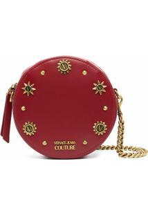 Versace Jeans Couture Bolsa Transversal Redonda Com Aplicações - Vermelho