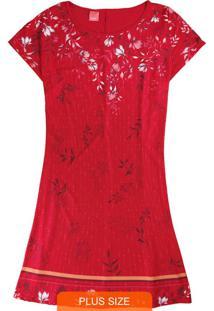 Vestido Vermelho Curto Floral Em Liganete