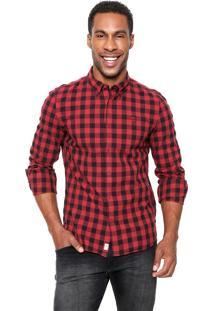 Camisa Timberland Slim Vermelha/Preta