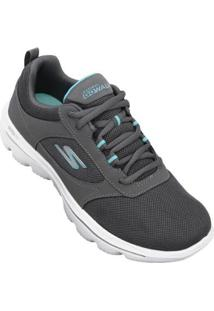 Tênis Skechers Go Walk Evolution Ultra Enhance Feminino - Feminino-Cinza+Branco