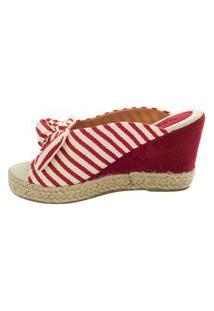 Sandália Mule Anabela Mariha Calçados Listra Vermelho