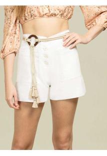 Shorts Linho Com Botões Branco - Lez A Lez
