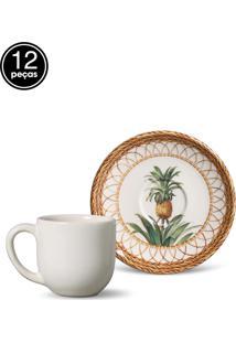 Conjunto 12Pçs Xícaras De Café Porto Brasil Coup Pineapple Branco/Bege