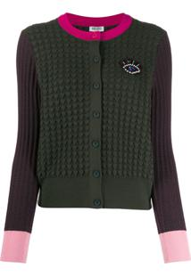 Kenzo Cardigan Color Block Com Bordado - Verde