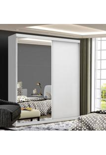 Guarda Roupa Solteiro Com Espelho 2 Porta De Correr Cléo Siena Móveis Branco