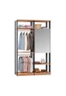 Guarda-Roupa Solteiro Modulado Clothes Com Espelho 2 Pt Mel E Espresso