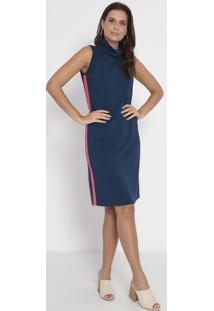 Vestido Liso Com Recortes- Azul Marinho & Rosa- Vittvittri