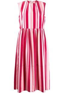 Marni Vestido Listrado Com Recortes - Rosa