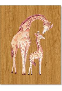 Quadro Girafa E Filhote G Madeira - Incolor - Dafiti