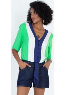Blusa Com Recortes E Amarração Verde Verde