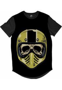 Camiseta Longline Bsc Caveira Capacete Motoqueiro 61 Sublimada Masculina - Masculino-Preto