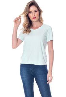 Camiseta Suede Fio - Lofty Style Feminina - Feminino-Verde Claro