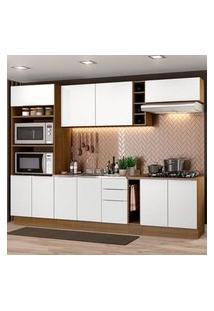 Cozinha Completa Madesa Stella 290001 Com Armário E Balcão Rustic/Branco Rustic/Branco