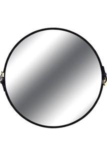 Espelho Fontenelle Couro Preto 90 Cm (Larg) - 40470 - Sun House