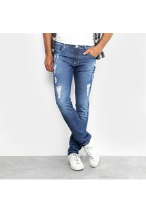 Calça Jeans Skinny Preston Classic Destroyed Elastano Masculina - Masculino
