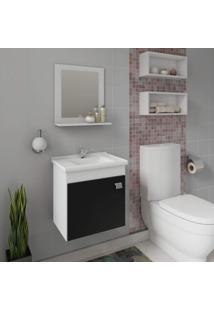 Gabinete Para Banheiro Com Cuba E Espelheira 1 Porta 1 Prateleira Íris Mgm Móveis Branco/Preto