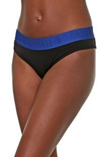 Calcinha Calvin Klein Underwear Tanga Lettering Preta/Azul