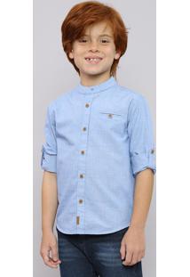 Camisa Infantil Texturizada Manga Longa Gola Padre Azul Claro