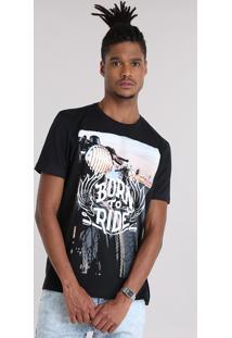 "Camiseta ""Born To Ride"" Preta"