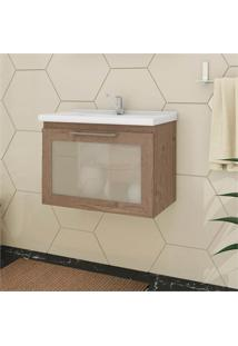 Gabinete Suspenso Para Banheiro Hibisco 44X59Cm Amêndoa