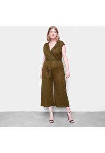 Macacão Eagle Rock Plus Size Pantalona Gola V Feminino - Feminino-Verde Militar