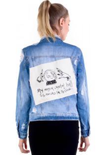 Jaqueta Jeans My Magical Crystal Ball Aplicação E Rasgos