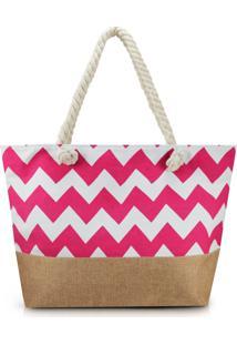 Bolsa De Praia Estampada Lisa Com Alça De Corda Jacki Design Pink Com Marrom