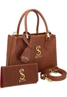 Kit Bolsa Selten Handbag Couro Croco + Carteira Feminina - Feminino-Marrom