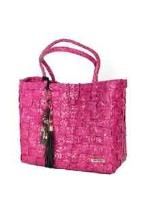 Bolsa Tote-Shopper Palha Feminina Berloques Metais Passeio Pink
