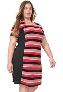 Vestido Lunender Mais Mulher Plus Curto Listrado Rosa/Preto
