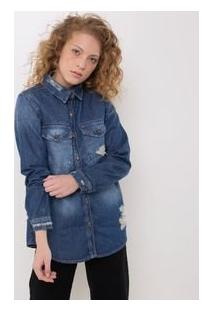 Camisa Jeans Alongada Com Puídos