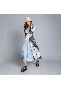 Vestido Mídi Recorte Plissado Los Angeles - Lez A Lez