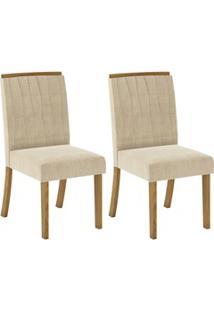 Kit 2 Cadeiras Estofadas Para Sala De Jantar Tauá Nature/Linho - Henn