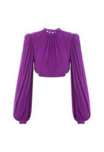 Blusa Feminina Cropped Decote Costas - Roxo
