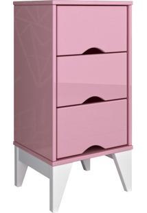Criado-Mudo Twister 3 Gv Quartzo Rosa Com Branco