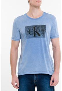 Camiseta Ckj Mc Re Issue Devore - Azul Escuro - Pp
