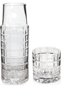 Moringa De Cristal Com Alto Relevo De Quadrados 7X23Cm