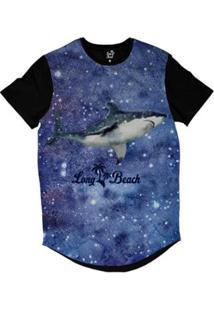 Camiseta Longline Long Beachs Aquarela Tubarão Perfil Sublimada Masculina - Masculino-Preto