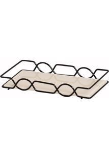Bandeja Espelhada Vanilla Decorativa Em Metal Fosco 10X20Cm Para Kit Lavabo - Bege - Dafiti