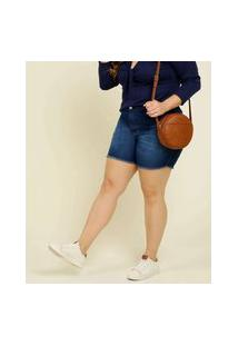Bermuda Plus Size Feminino Jeans Barra Desfiada Marisa