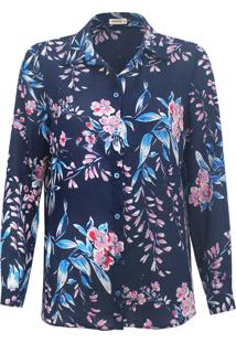 Camisa Intens Manga Longa Crepe Flor Azul