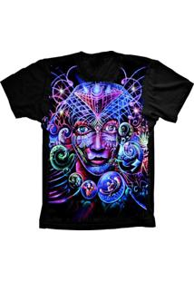 Camiseta Baby Look Lu Geek Psicodélica Preto