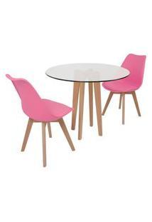 Conjunto Mesa De Jantar Em Vidro 90Cm Com Base Vértice + 2 Cadeiras Leda - Rosa