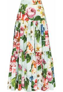 Dolce & Gabbana Saia Longa Com Estampa Floral - Verde